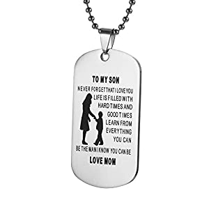 Cyntan Pendent Necklace Dog Tag Always Remember To My Son From Dad Mom For Mens Boys Girls Necklace Military Chain Pendants Gifts