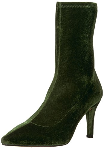 The Fix Women's Becca Pointed Toe Sock-Style Ankle Boot, Olive Stretch Velvet, 8 B US by The Fix