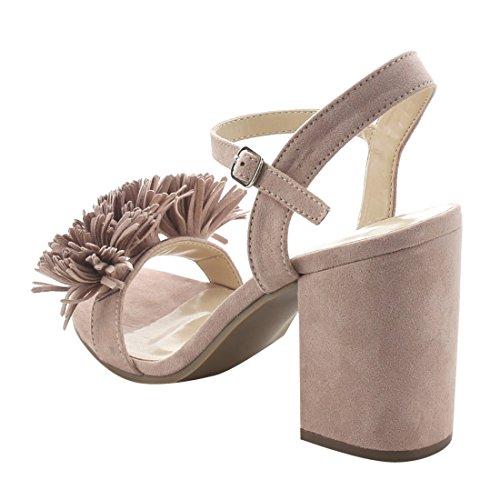 Sling Womens FJ86 Blush Sandals BONNIBEL Heel Band Single Chunky Back Dress n7axYSfqw