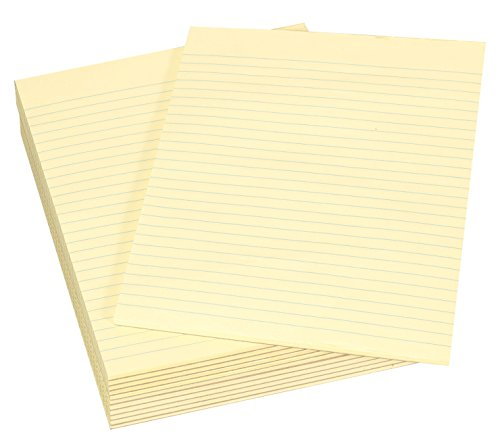 School Smart 16 pound Bond Gummed Ruled Pads - 8 1/2 x 11 inches - 12 Pads of 50 Sheets - Canary