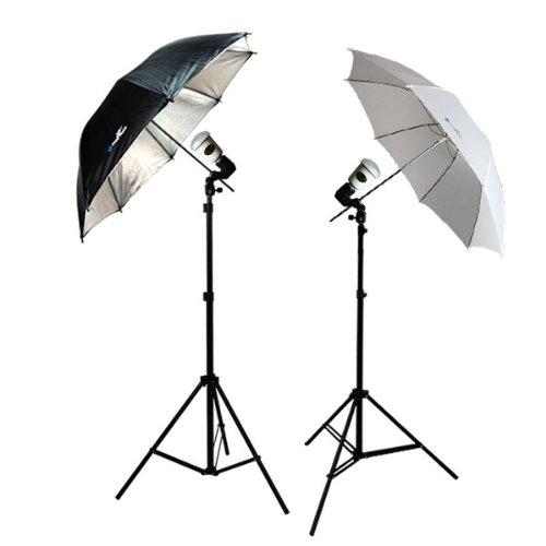 LimoStudio Photo Video Studio Flash light Umbrella Kit 1 x Reflector Umbrella 1 x Diffuser Umbrella 2 x Light Stand with Light & Umbrella Holder Clamp, 2 x 45 Watt Bulbs, AGG395 by LimoStudio
