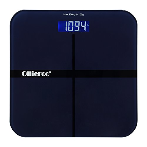 ollieroo-navy-400lb-precision-digital-body-weight-bathroom-scale-with-tempered-glass-blue-lcd-displa