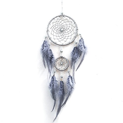 HBEDU Dream Catchers Gray Handmade with Feather and Beads Craft Artwork Circular Net For Car Kids Bed Room Wall Hanging Home Decoration Pack of 1 by HBEDU