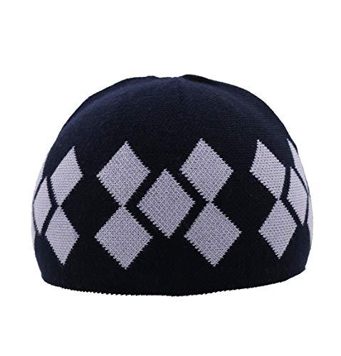 Argyle Cotton Hat - Modefa Islamic Prayer Cap One-Size Turkish Kufi Hat Taqiya Takke Peci Argyle (Navy/Gray)