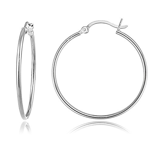 Hoops & Loops Sterling Silver 1.5mm High Polished Round Medium Hoop Earrings