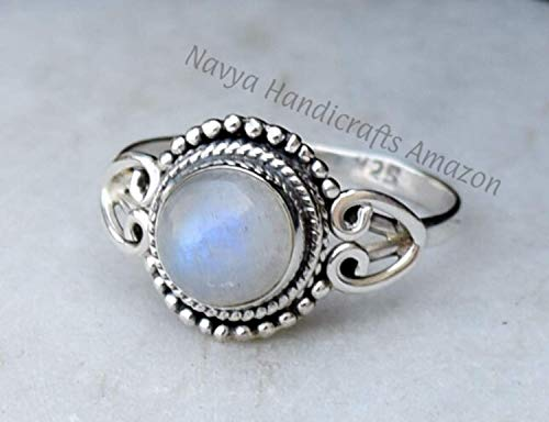 Details about  /Women/'s Ring Silver 925 With Moonstone Rainbow Oval