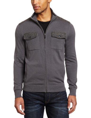 Kenneth Cole New York Men's Full-Zip Double-Pocket Mock-Neck Sweater