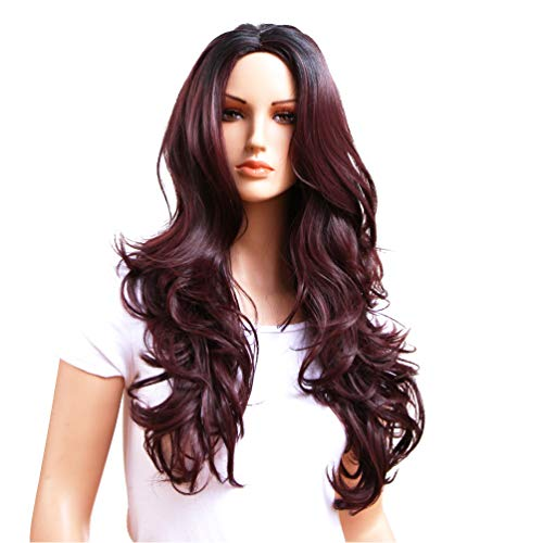 (GOTTA long Wavy Wigs for Women Fashion Ombre Colorful Synthetic Kanekalon Ladies Cosplay Wig Good Guarantee (black with)