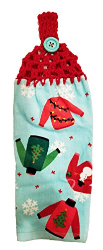 Handcrafted Cherry Red Crochet Topped Ugly Sweaters Kitchen Towel
