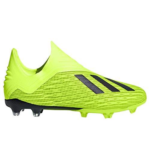 Adidas X 18 + Kid's Firm - Zapatillas de fútbol para niño, Solar Yellow/Core Black/Cloud White, 5.5 M US