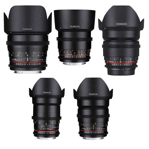 Rokinon Cine DS Popular Lens Bundle Consists of 16mm T2.2, 24mm T1.5, 35mm T1.5, 50mm T1.5, 85mm T1.5 for Canon EF Mount