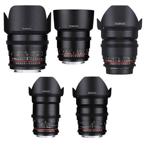 Rokinon Cine DS ポピュラーレンズバンドル 16mm T3.1、24mm T1.5、35mm T1.5、50mm T1.5、85mm T1.5 ソニー Eマウント用   B07K54SKLY