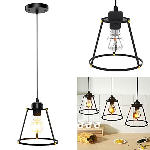 Imoli Pendelleuchte Lampenschirm Retro Hängelampe Schwarz, E27 Fassung, 120CM Höhenverstellbar hängeleuchte, Industrial Design Lampe für wohnzimmer Küche