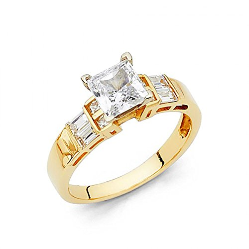 14k Yellow Gold Princess Cut CZ Channel Set Baguette Engagement Ring
