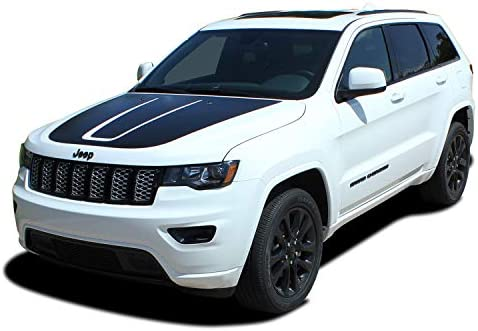 Jeep Grand Cherokee Hood Blackout Decal 2011 and up 2014 2015 2016 2017 Style 4