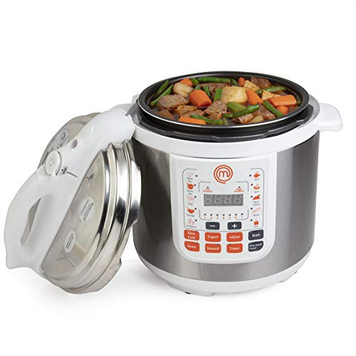 MasterChef 13-in-1 Pressure Cooker- 6 QT Electric Digital MultiPot w 13 Programmable Functions- High and Low Pressure Cooking Options, LED Display, Delay Timer and Much More