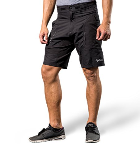 Bpbtti Mens Baggy MTB Mountain Bike Shorts with Removable Biking Bicycle Cycling Padded Liner Short (Black, Waist 35-37″) For Sale