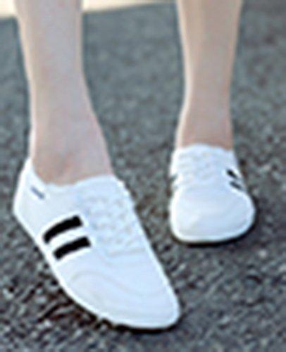 Mujeres De Moda Casual Top Redondo Punta Plana Con Cordones Zapatillas De Deporte De Lona De Skate Zapatos Blancos