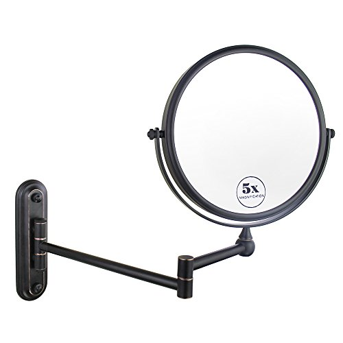 Tall Vanity Stand Chrome Mirror - Gloriastar Wall Mount Makeup Mirror,Double Sided With 1X/5X Magnification,Oil-Rubbed Bronze, 8-Inch
