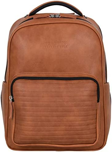 """Kenneth Cole On Track Pack Vegan Leather 15.6"""" Laptop & Tablet Bookbag Anti-Theft RFID Backpack for School, Work, Travel"""