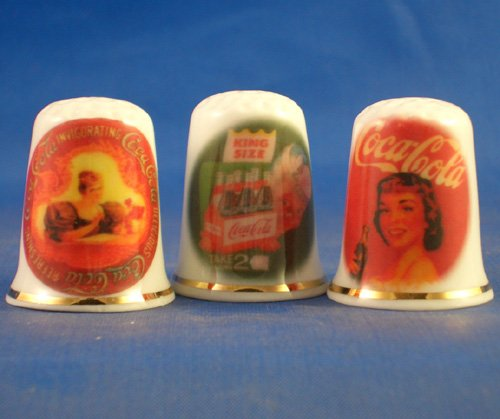 Porcelain China Collectable Thimbles - Set of Three Vintage Coca Cola