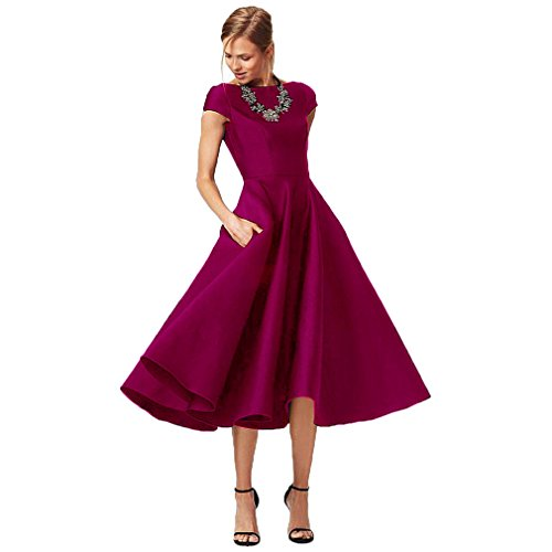 (Fashionbride Women's Formal Evening Gown Satin Short Sleeve Tea-Length Mother of The Bride Dress Dark Fushia-US6 )