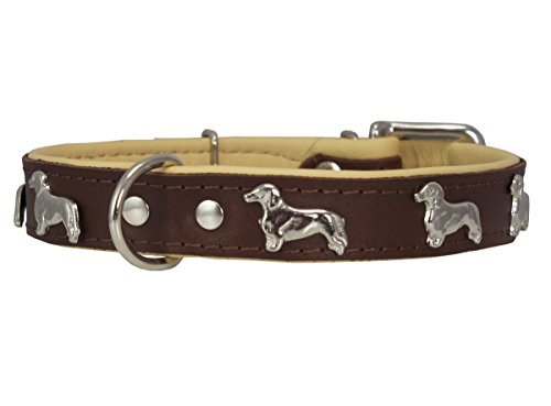 (Dogs My Love Real Leather Soft Leather Padded Dog Collar Dachshund (14