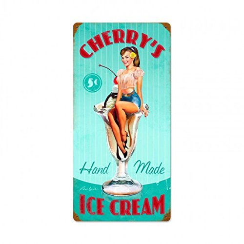 EHAKB Stylish Vintage Metal Sign Cherry's Ice Cream Pin Up Girl 8