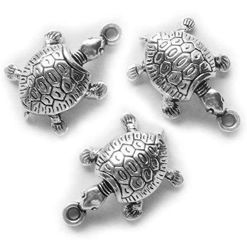 Heather's cf 40 Pieces Silver Tone Tortoise Beads DIY Charms Pendants 23X15mm