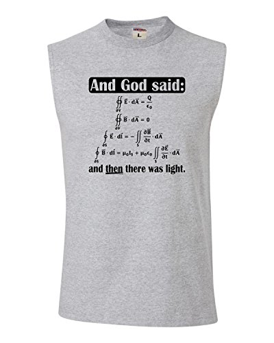 XX-Large Athletic Heather Adult God Said Maxwell Equations And Then There Was Light Sleeveless Tank Top T-Shirt