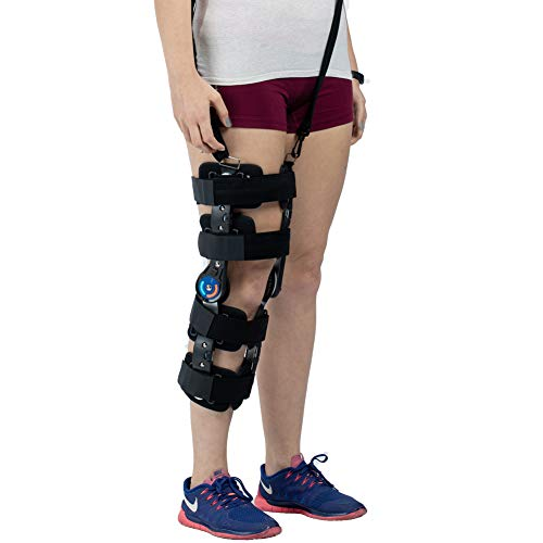 (Hinged ROM Knee Brace with Strap, Adjustable Leg Stabilizer Post OP Recovery Immobilization Splint - Medical Orthopedic Guard Protector Patella Injury Immobilizer Brace)