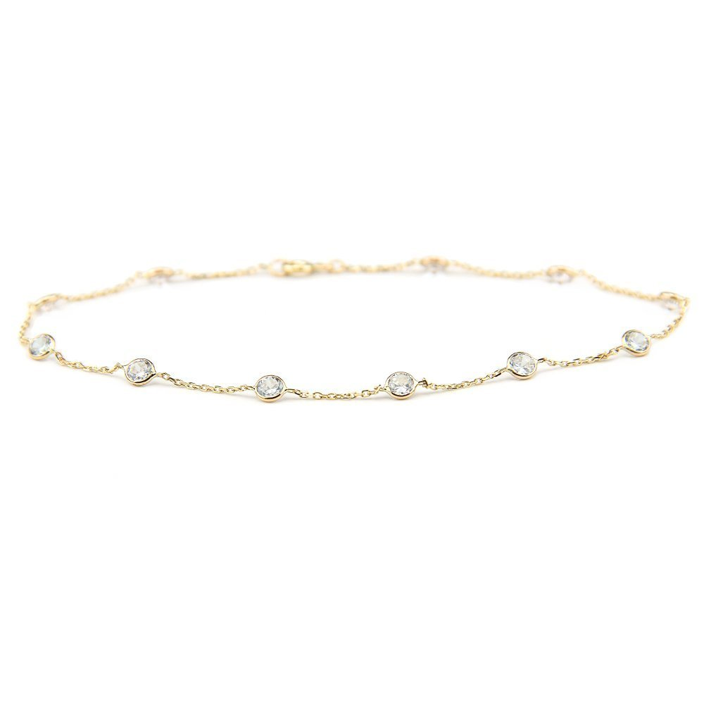 14k Yellow Gold Station Anklet Bracelet with 4mm Round Cubic Zirconia