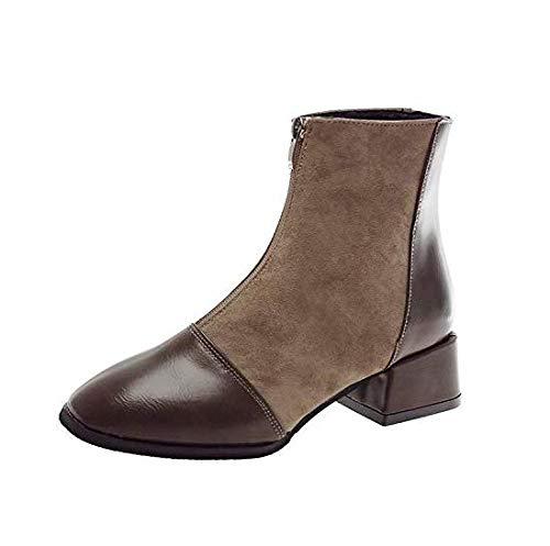 High Heels schwarz Martin Stiefel Schwarze weibliche weibliche weibliche mattierte quadratische elastische Kurze Stiefel Damen dick mit Absatz (Farbe   Khaki, Größe   39) f53371