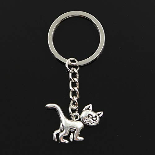(Mct12-30mm Key Ring Metal Key Chain Keychain Jewelry Antique Silver Plated cat 30x22mm Pendant)