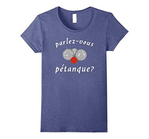 Womens Parlez-vous Petanque? T-Shirt - (French Boules) Medium Heather Blue