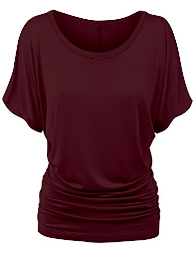 Stretch Shirred Jersey Top (ReachMe Womens Solid Short Sleeve Dolman Top with Side Shrring Loose Fit T-Shirt(Wine Red,Small))