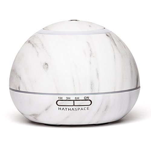 Hathaspace Marble Essential Oil Aroma Diffuser, 350ml Aromatherapy Fragrance Diffuser & Ultrasonic Cool Mist Room Humidifier, 18 Hour Capacity, BPA-Free, 7-Color Optional Ambient Light (White) ()