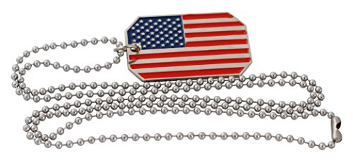 Star Dog Tag Pendant - American Flag USA Patriot Freedom Stars and Stripes Dog Tag Pendant Necklace (Red/Blue Star and Stripes)