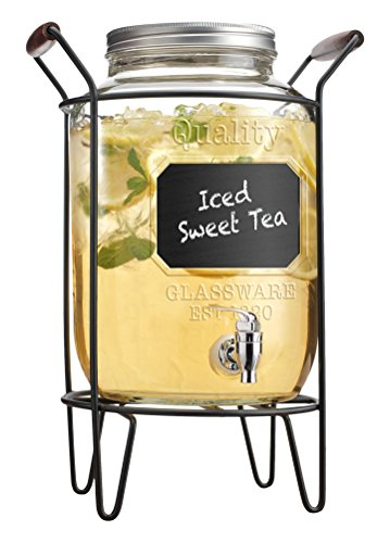 (Home Essentials & Beyond Del Sol 2.15 gallon Beverage Dispenser with Chalk Board & Rack, Clear)