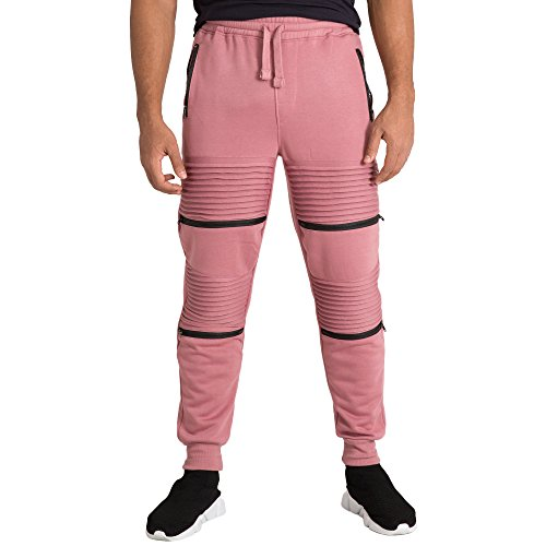 Vibes Gold Label Mens Double Moto Zipper Knee Trim Dusty Rose Fleece Jogger Pants Rib Cuff - Dusty Male Model