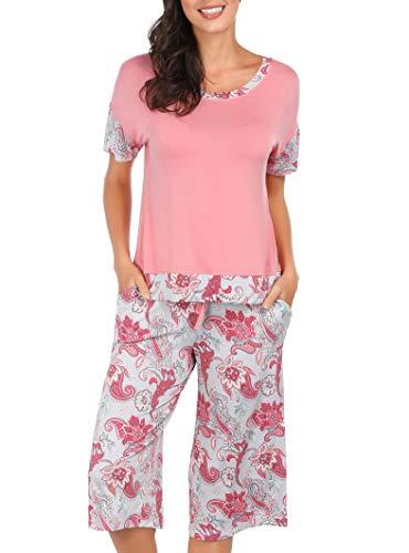 Summer Pajamas for Women - Stylish Print Ladies Pajama Set, Oversized Shirt Capri Lounge Pants, Picnic Paisley Large