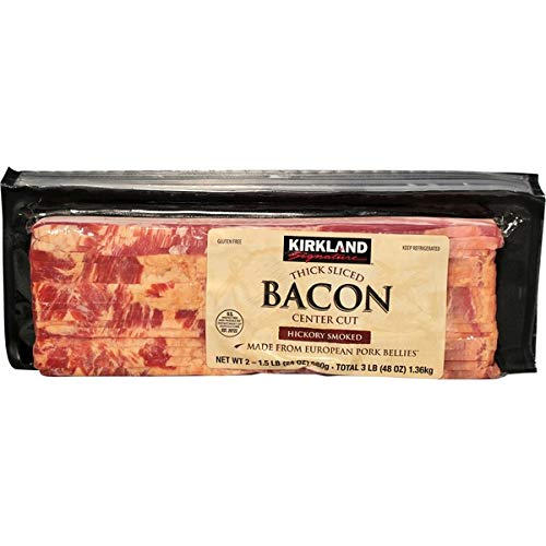 Kirklands Signature Thick Sliced Danish Hickory Smoked Bacon 1.5 Lb | 4 Packs (Total 6 Pound) | Ship Frozen With Ice