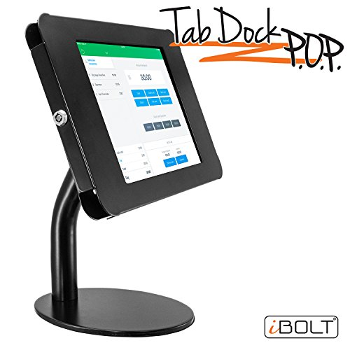 "iBOLT TabDock Point of Purchase - Heavy Duty weighted 8.5"" stand w/ locking holder for POS / Point of Sale, Kiosk, Check-out, displays ( iPad Pro 9.7"", iPad 4 / 3 / 2 / iPad Air 1 / 2)- Black by iBOLT"