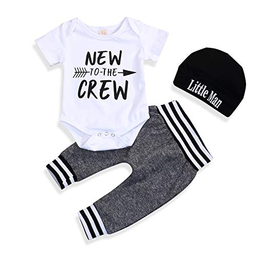 (Newborn Baby Boy Clothes Set to The Crew Print Short Sleeve Romper+Pants+Hat 3PCS Outfits (0-3 Months, White01))