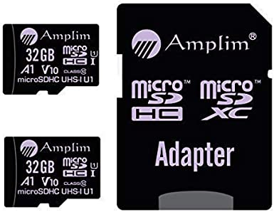 TF Card 32GB Micro SD Card 2 Pack Plus Adapter. Amplim High Speed 32 GB Class 10 MicroSDHC Micro SDHC Mini SD Memory Card for Nintendo, Android Phone ...