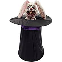 Forum Novelties Animated Deranged Bunny in Hat for Party Decoration, Black