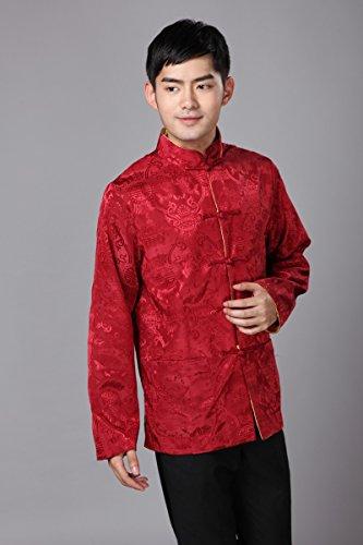 da Abbigliamento oro lati Camicia Acvip indossato cinese Kung Tang Jacket due Retro uomo rosso Fu dHx8HBwp