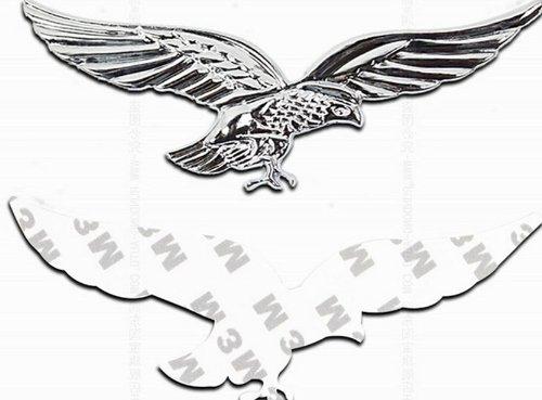 2pcs PHACA 3D Metal Badge Emblem Attractive and Durable Car Sticker Silver Eagle