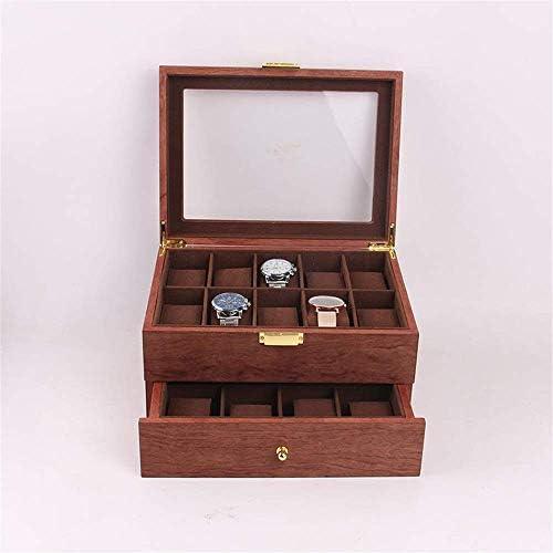 HRSS Watch Box Double-Layer Safflower Birne Watch Box High-End-Retro-Uhr-hölzerne Kasten 20 Slots großen Kapazitäts-Uhr-Speicher (Farbe: Stellen Sie Farbe, Größe: 29x21.5x16CM)
