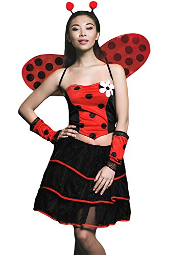 Adult Women Ladybug Costume Wings Antennae Cosplay & Role Play Lovebug Dress Up (Small/Medium, Black, (Adult Ladybug Wings)